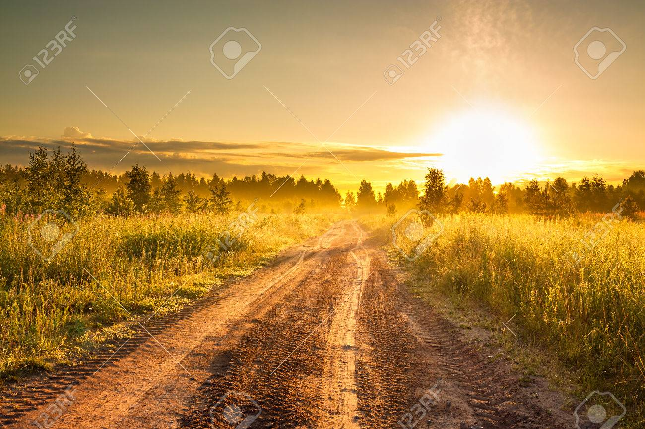 the summer rural landscape with sunrise and the road - 37351972