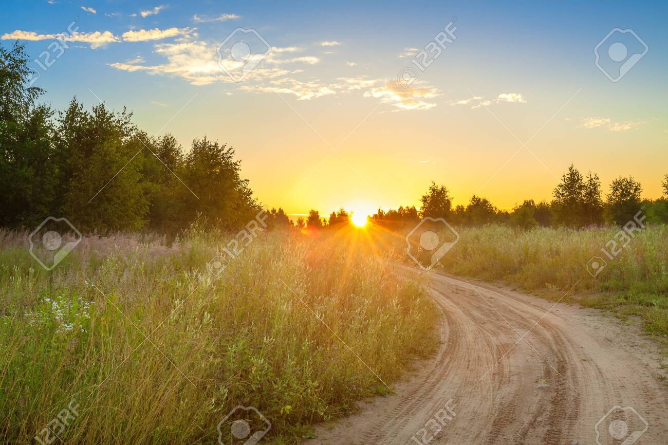 amazing summer rural landscape with sunrise, road and forest . scenery spring scene view - 149551643