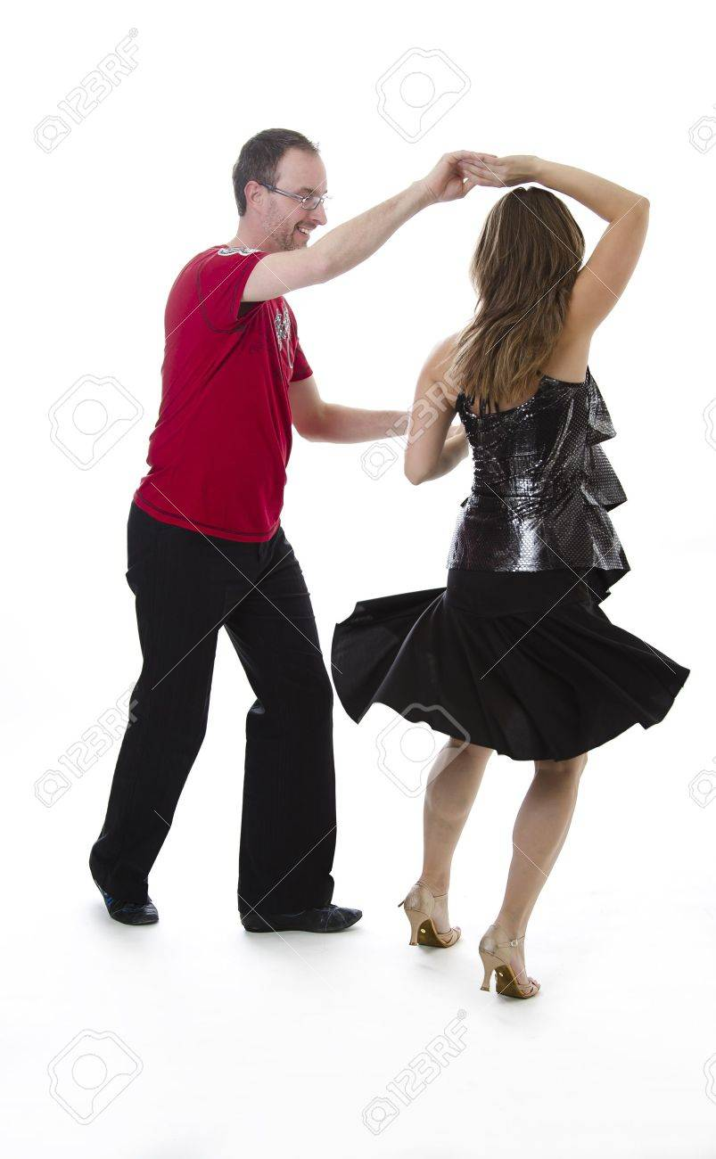 couple dancing salsa in the middle of a pose Stock Photo - 12397838