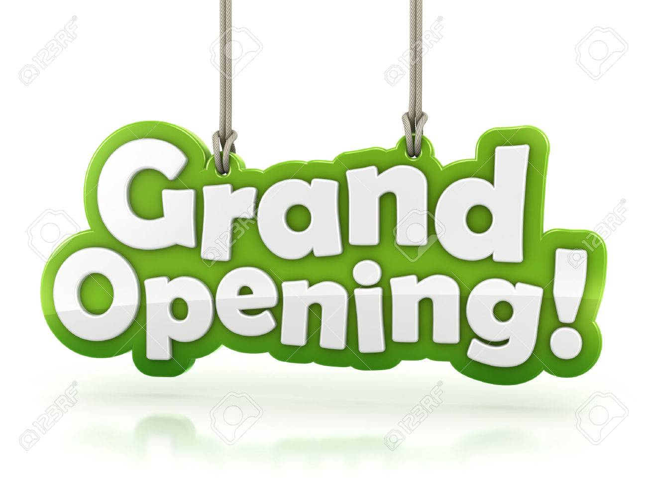 grand opening text isolated on white background with clipping
