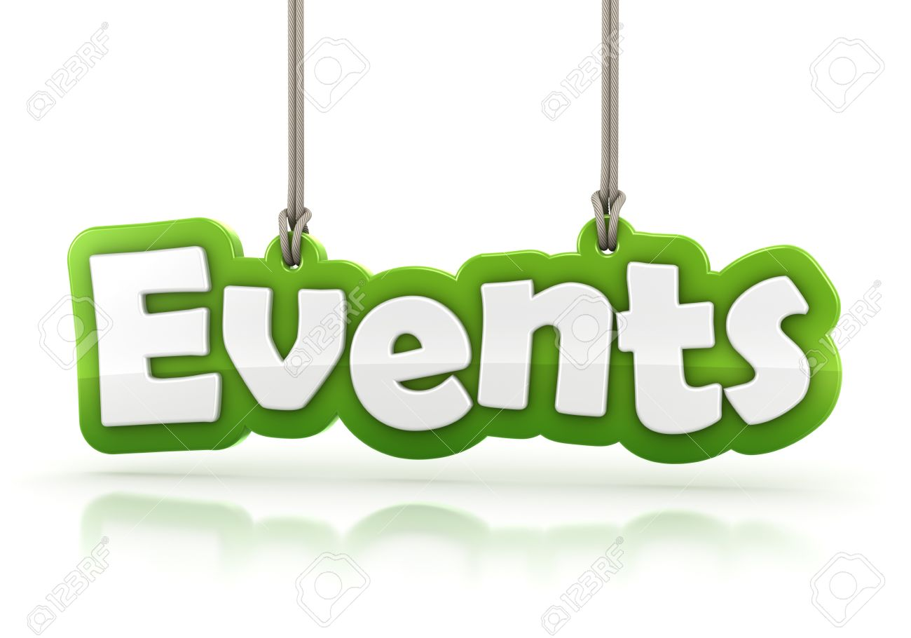 events green word text isolated on white background with clipping