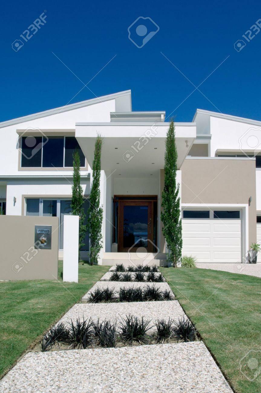 White luxury house with two storeys Stock Photo - 9084815