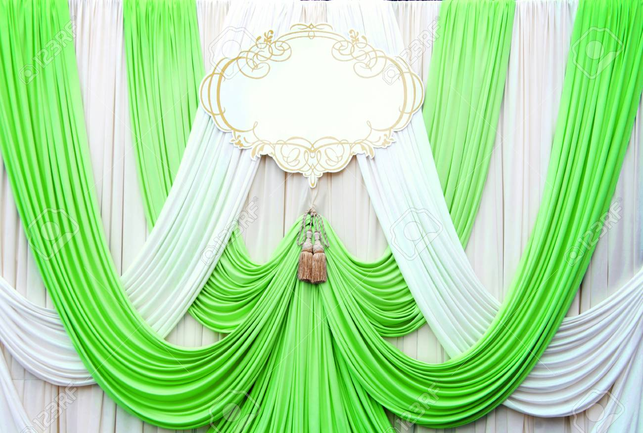 White And Green Curtain Backdrop Background For Wedding Stock Photo
