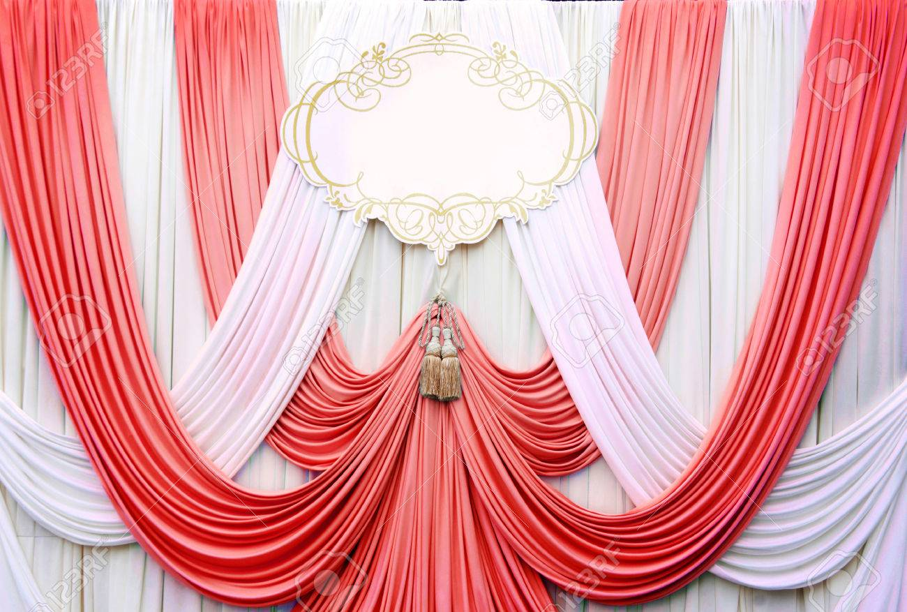 White And Red Curtain Backdrop Background For Wedding Stock Photo