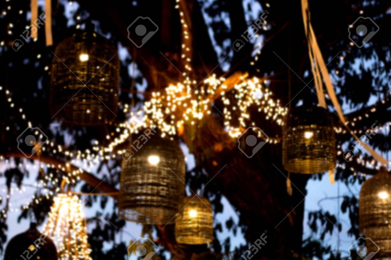 Abstrait Flou Lampe Décoration Jardin à La Nuit Banque D\'Images Et ...