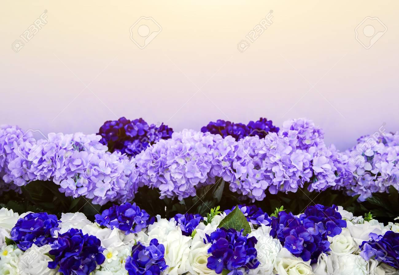 Artificial Purple Flower Bush Decoration And Space Stock Photo
