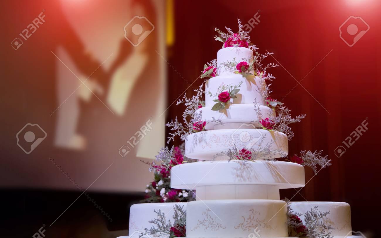 Focus Artificial Wedding Cake Decoration In Wedding Ceremony Stock