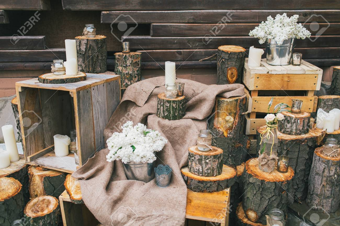 Rustic Wedding Decor Decorated Stairs With Stumps And Lilac Stock Photo Picture And Royalty Free Image Image 62845113