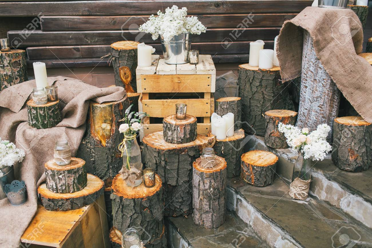 Decoración Matrimonio Rustico : Decoración de la boda rústico escaleras decoradas con tocones y