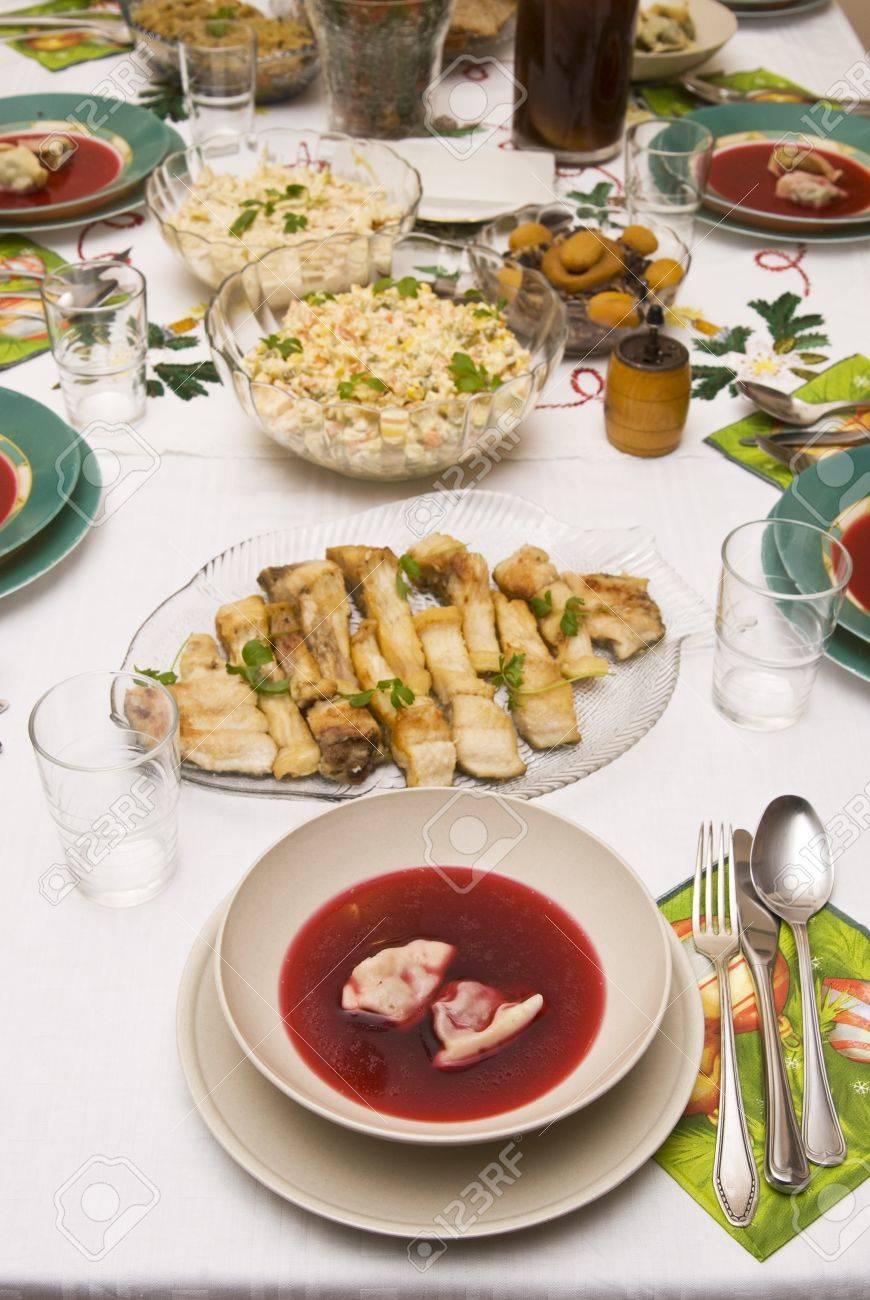 Festlich Gedeckter Tisch Zu Weihnachten Lizenzfreie Fotos Bilder