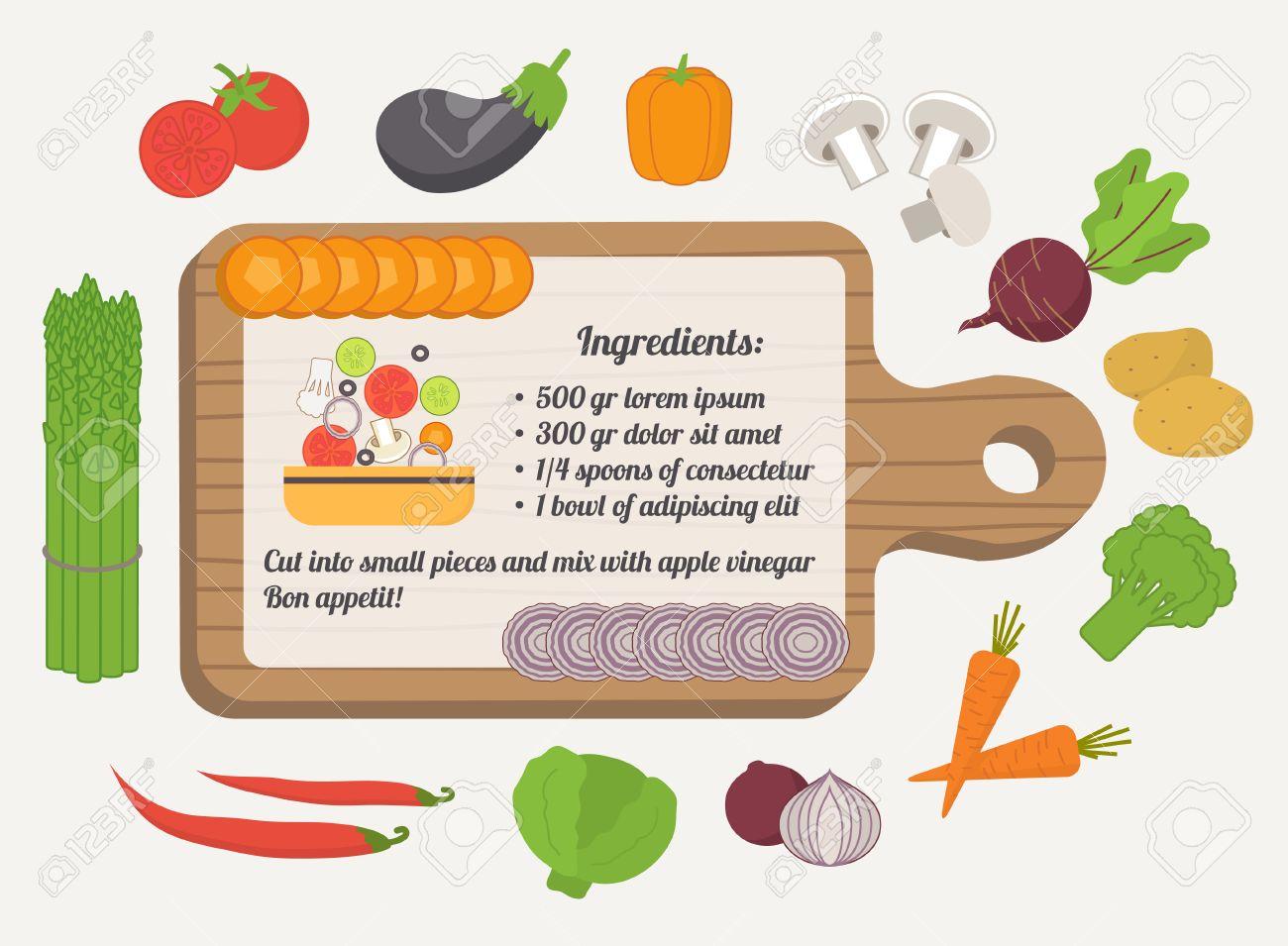 Tarjeta De La Receta, Plantilla Culinaria Con Iconos De Alimentos Y ...