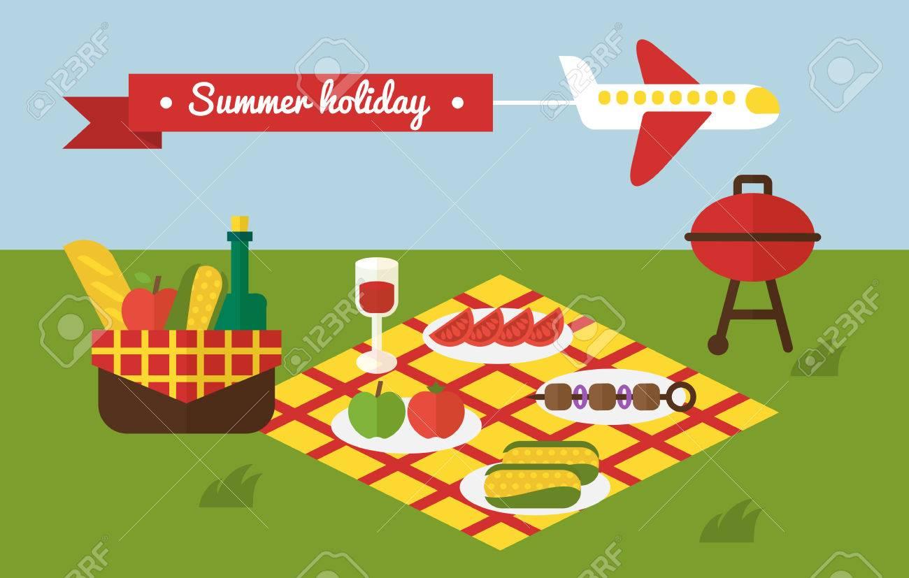 Barbecue Summer Picnic. Invitation Template Stock Vector   41680003