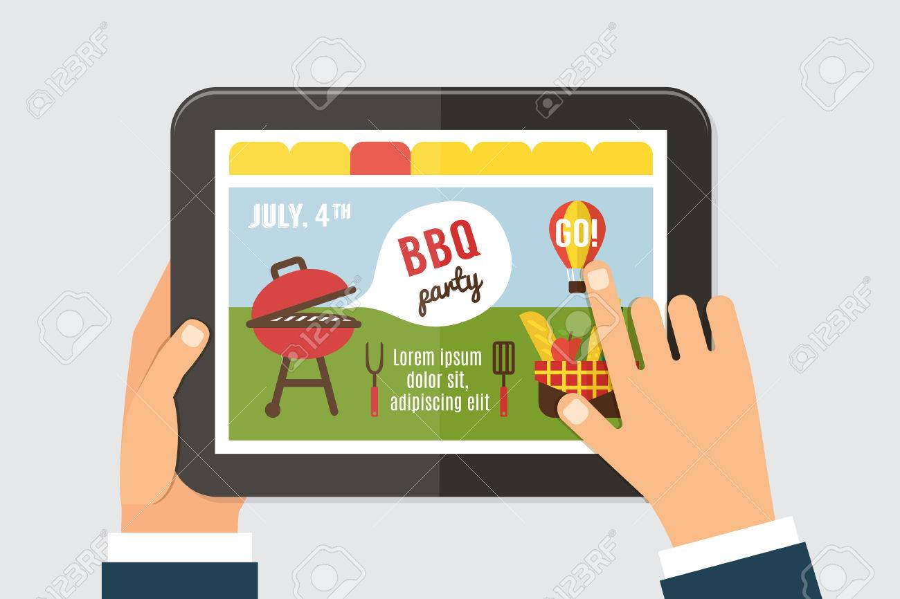 Summer party invitation template bbq picnic web site on tab screen banco de imagens summer party invitation template bbq picnic web site on tab screen with hands holding 4th of july vector illustration stopboris Choice Image