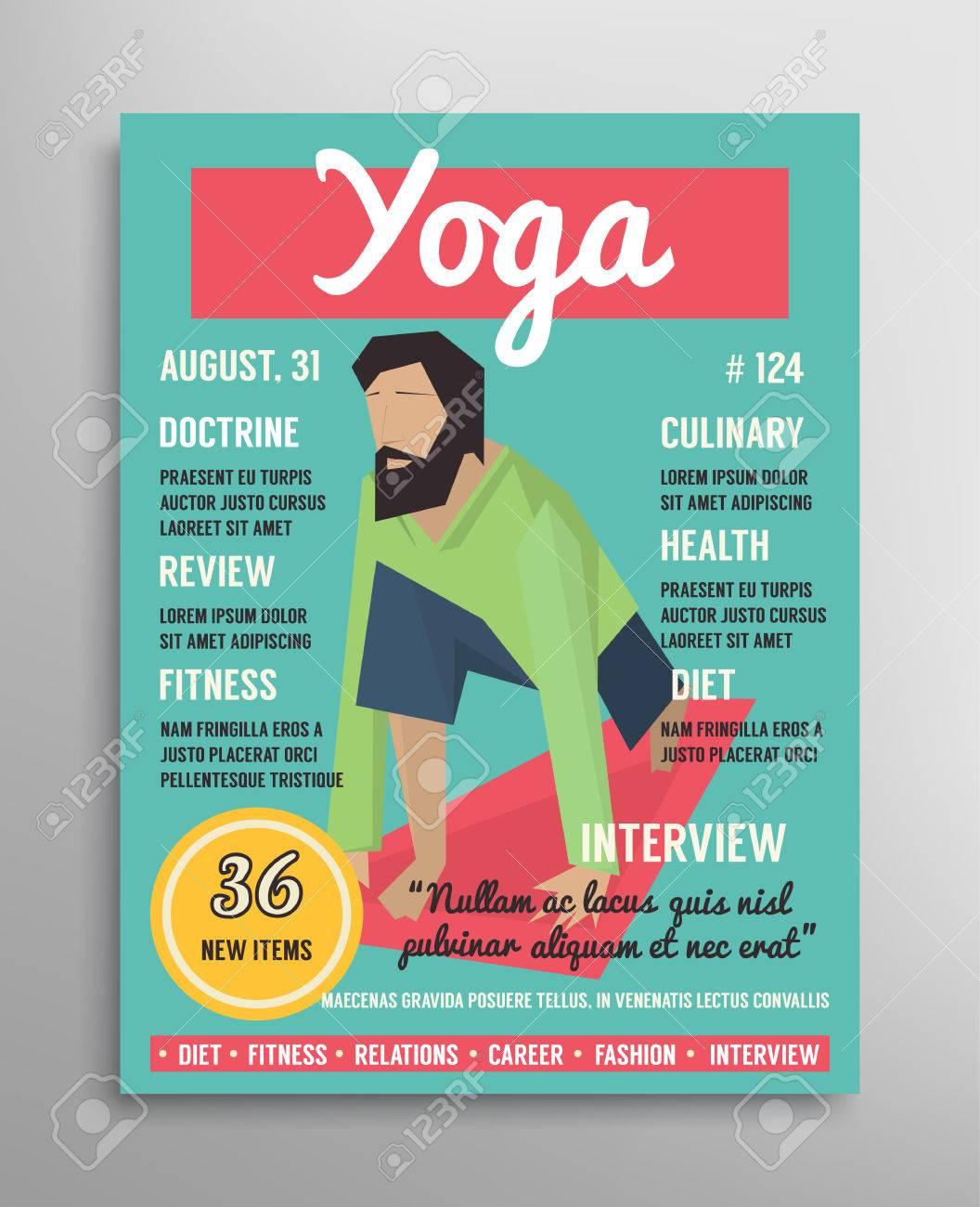 Plantilla De Portada De La Revista. Capa De Blogs Yoga, Deporte ...