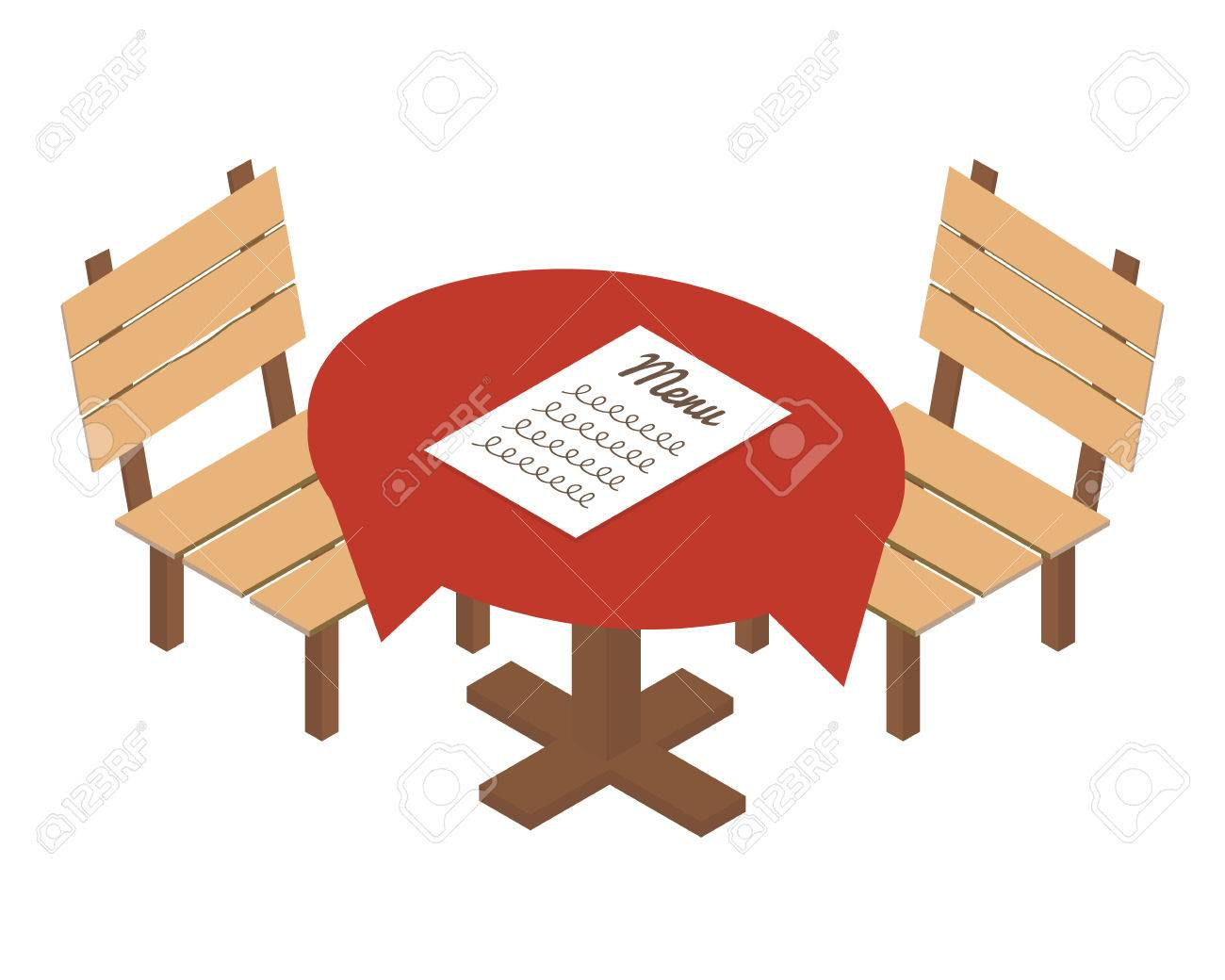 Restaurant tables and chairs clipart - Isometric Table In Cafe Or Restaurant Vector Icon Stock Vector 44013503