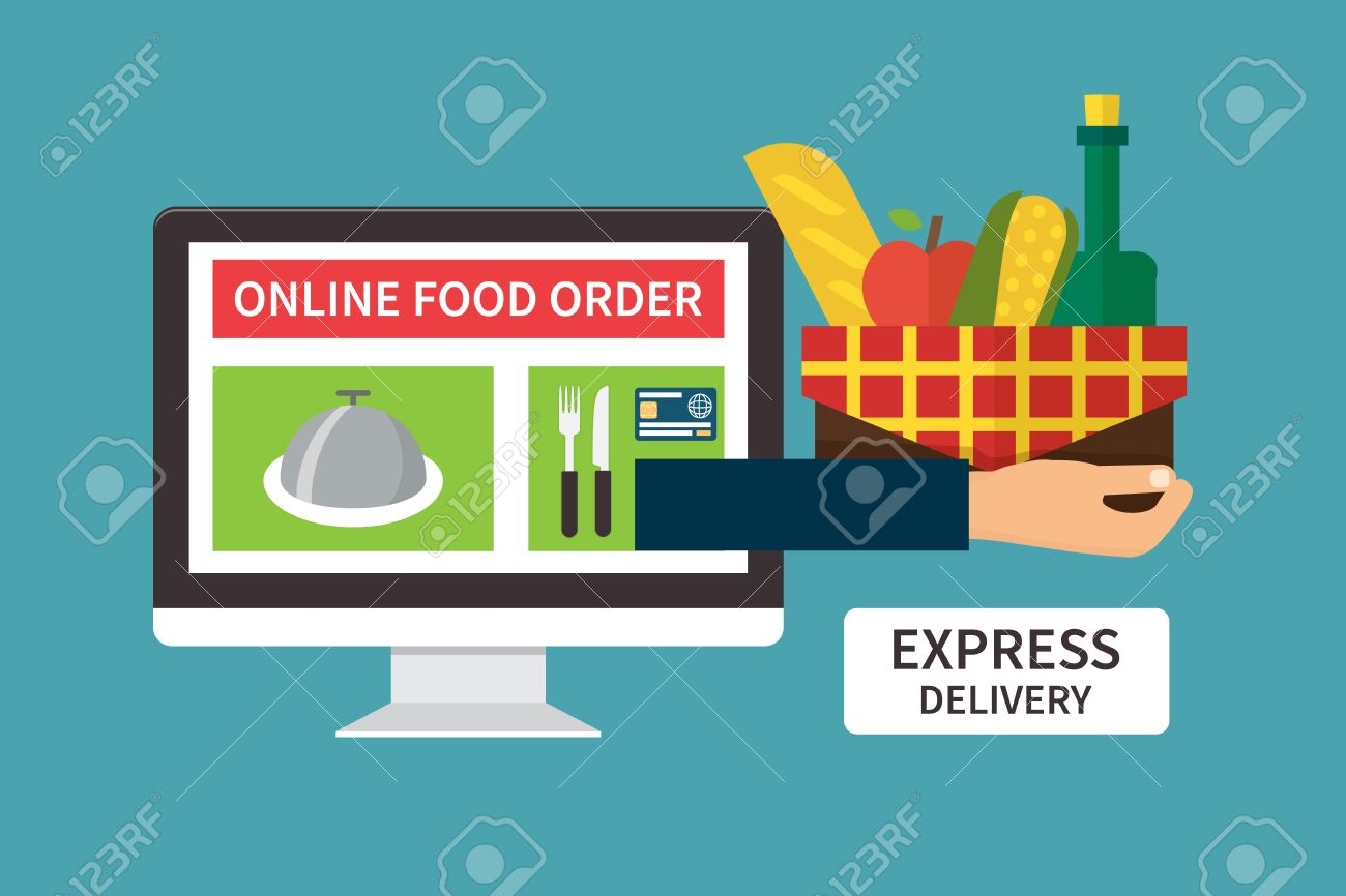 Food Delivery, Online Internet Order. Computer And Hand Holding ...