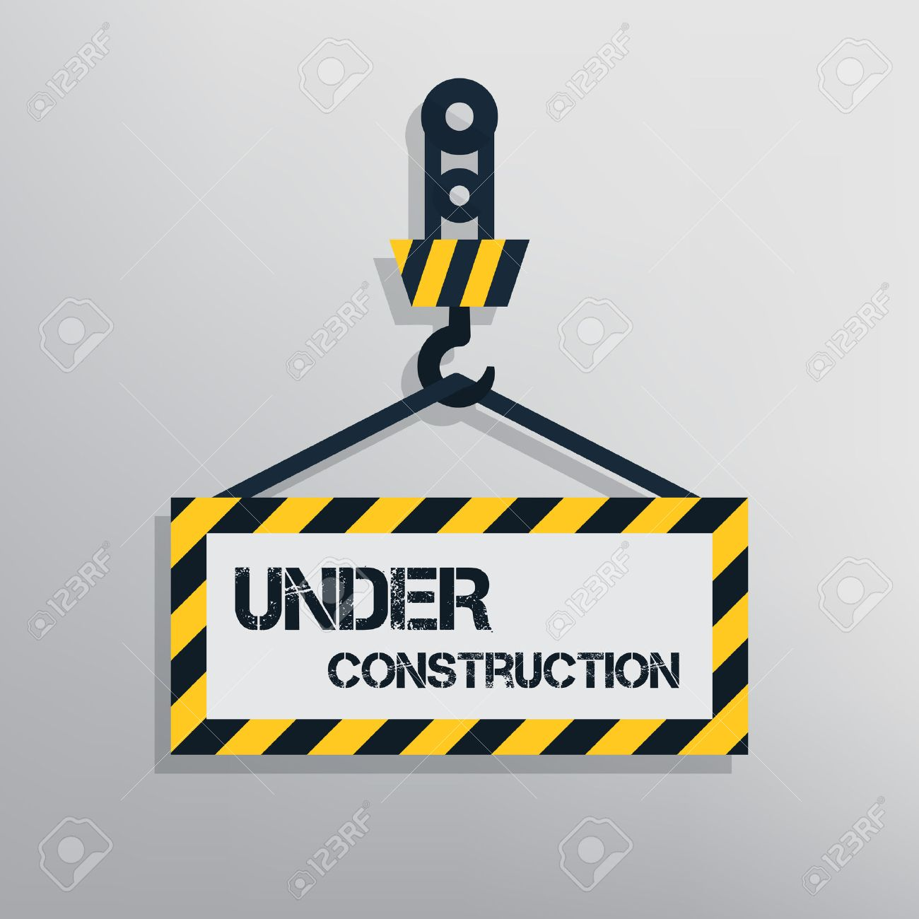 Under construction sign  Warning message for website  Flat design