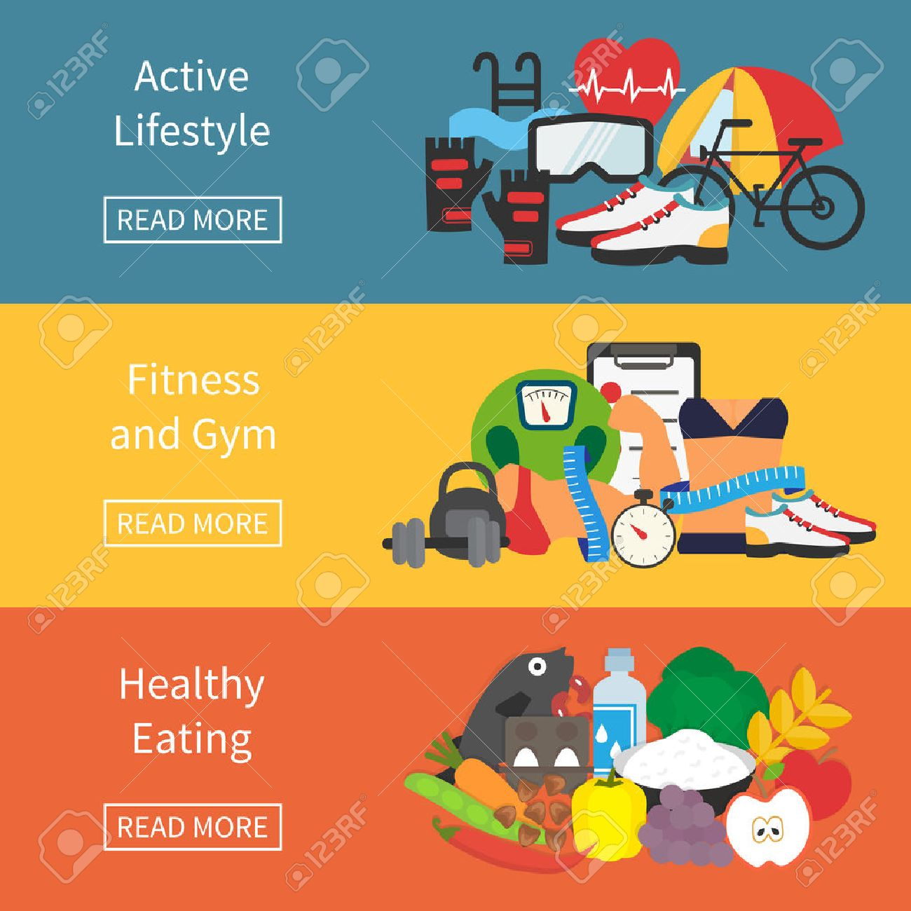 Healthy lifestyle banner. Fitness, healthy food and active living. Flat design vector illustration. Stock Vector - 47194232