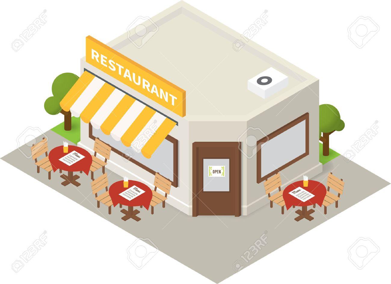 Building cartoon clipart restaurant building and restaurant building - Isometric Restaurant Cafe Flat Building Icon Stock Vector 50120504