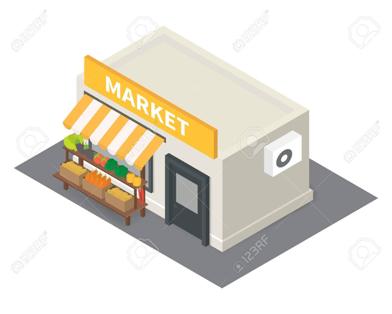 Vector isometric market stalls with vegetables. Flat building icon - 50120508