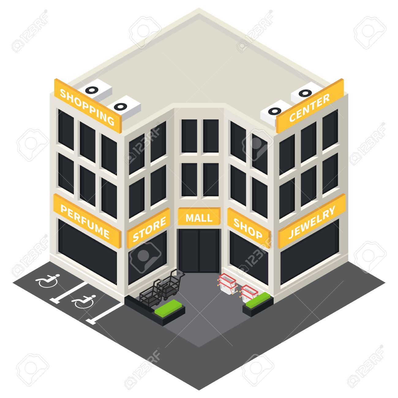 Vector isometric shopping mall building icon  Store 3d model