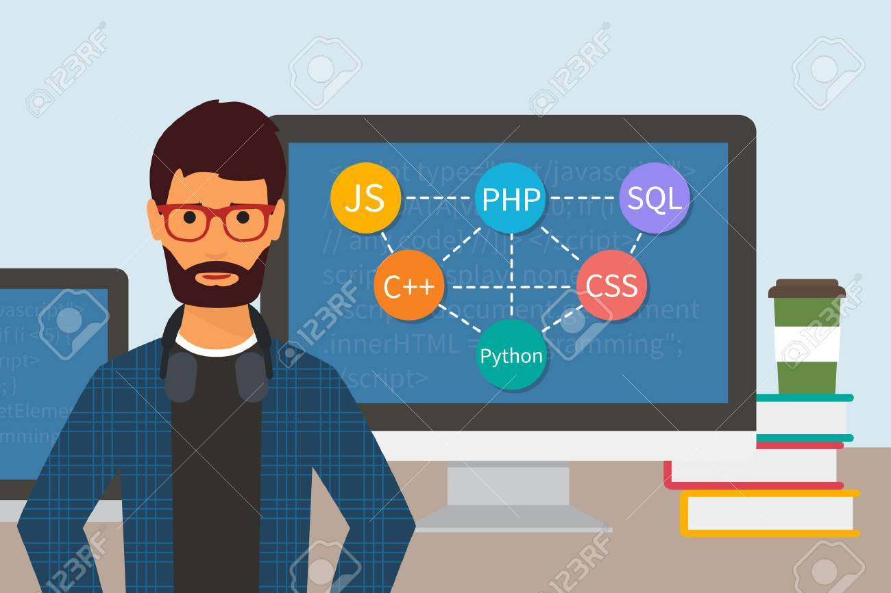 Programming code. Web software developer. Programmer and monitors with computer languages. - 53561342