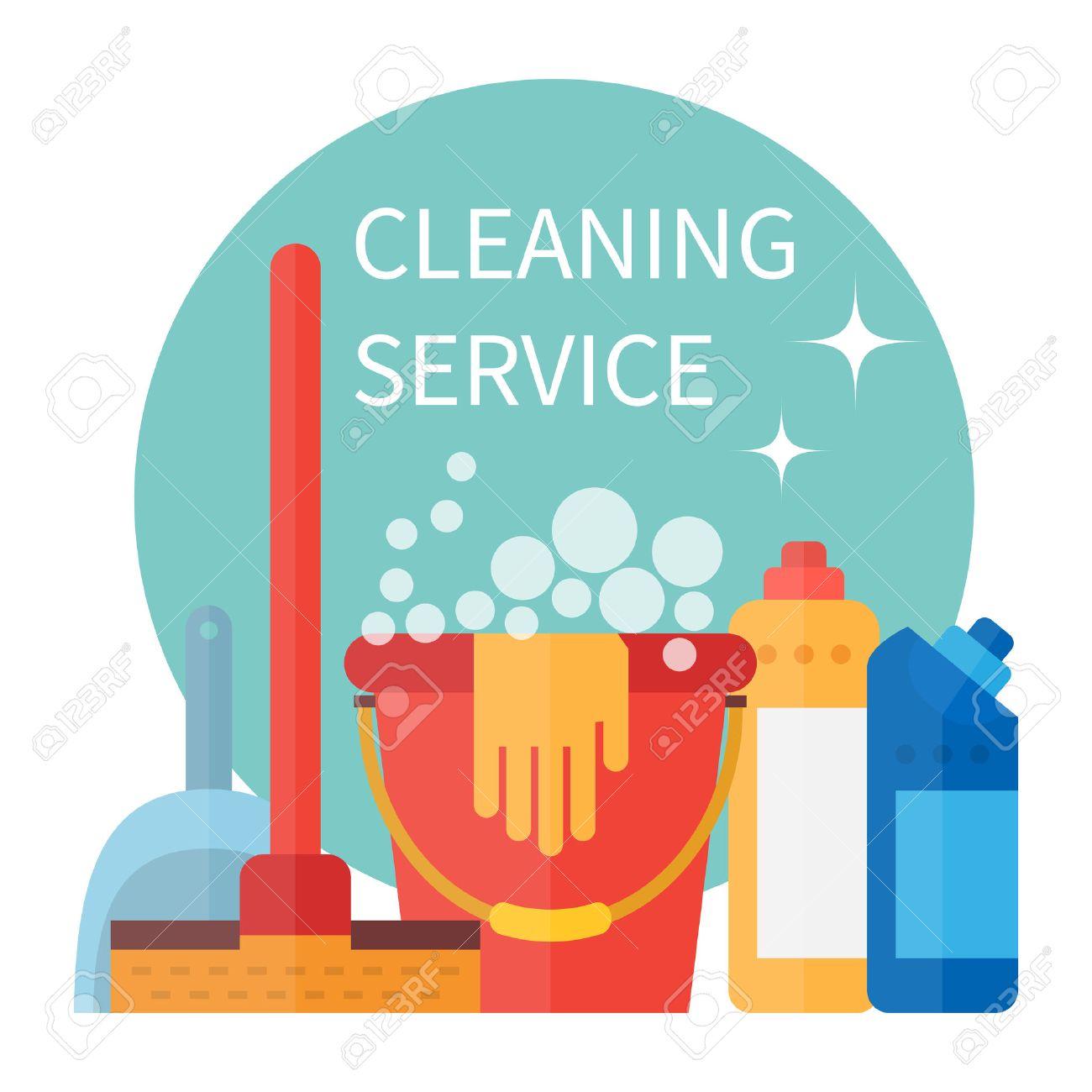 Limpieza Cartel Del Servicio Herramientas De Limpieza Ilustración