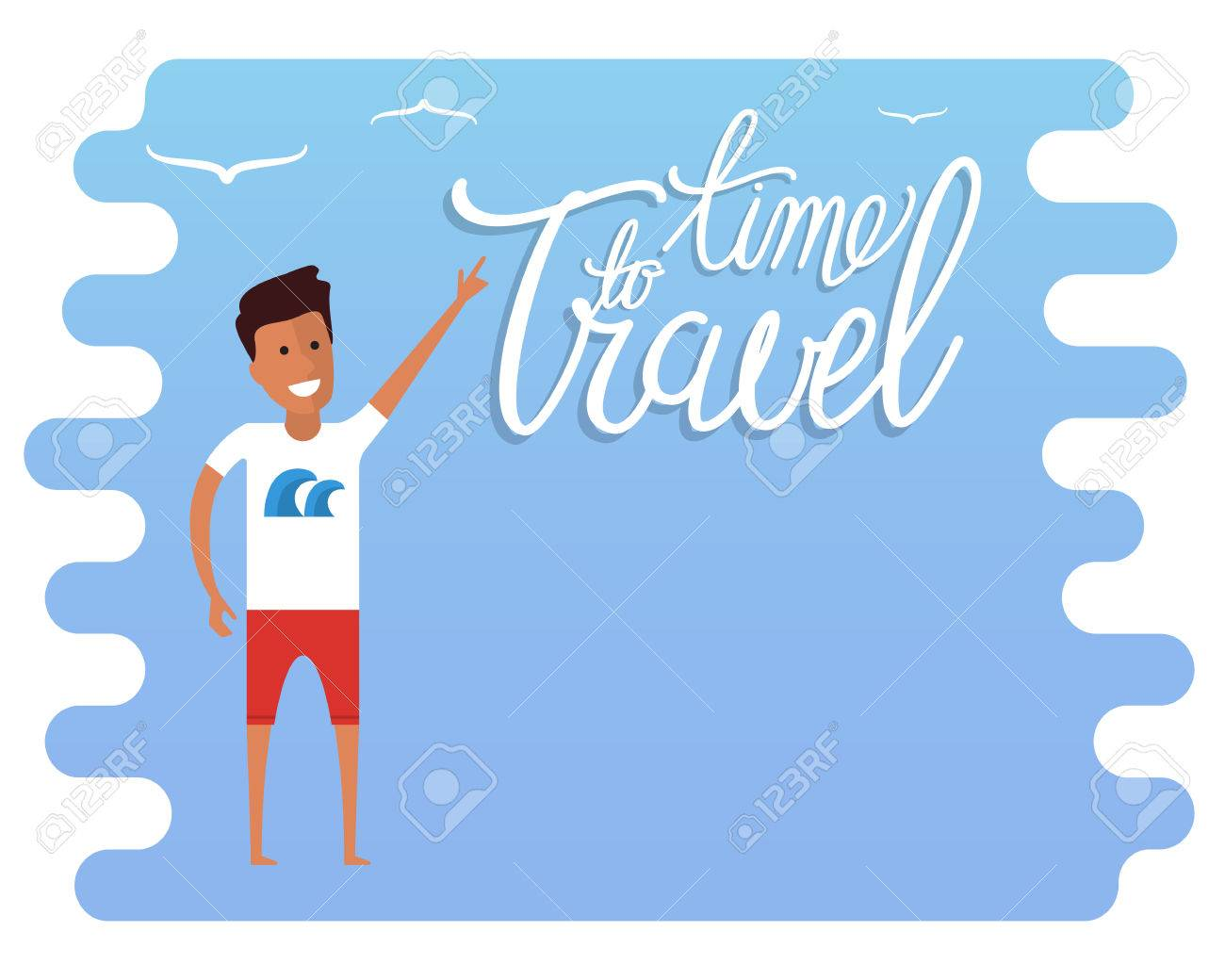 Summer Travel Advertisement Time Sign Agency With Place For Text