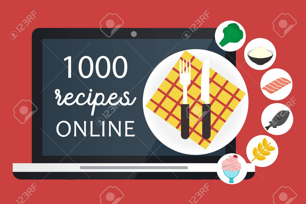Online cooking recipes websites vector flat app illustration online cooking recipes websites vector flat app illustration stock vector 62432099 forumfinder Images