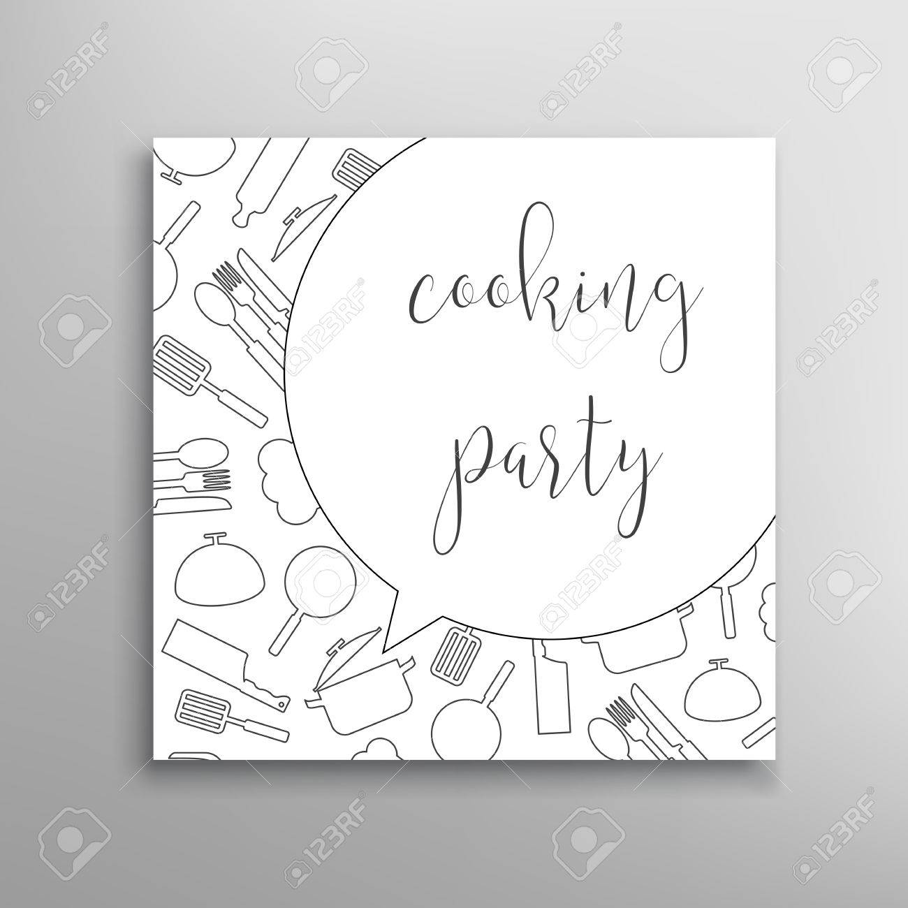 Cooking Party Invitation. Culinary School Vector Template Royalty ...
