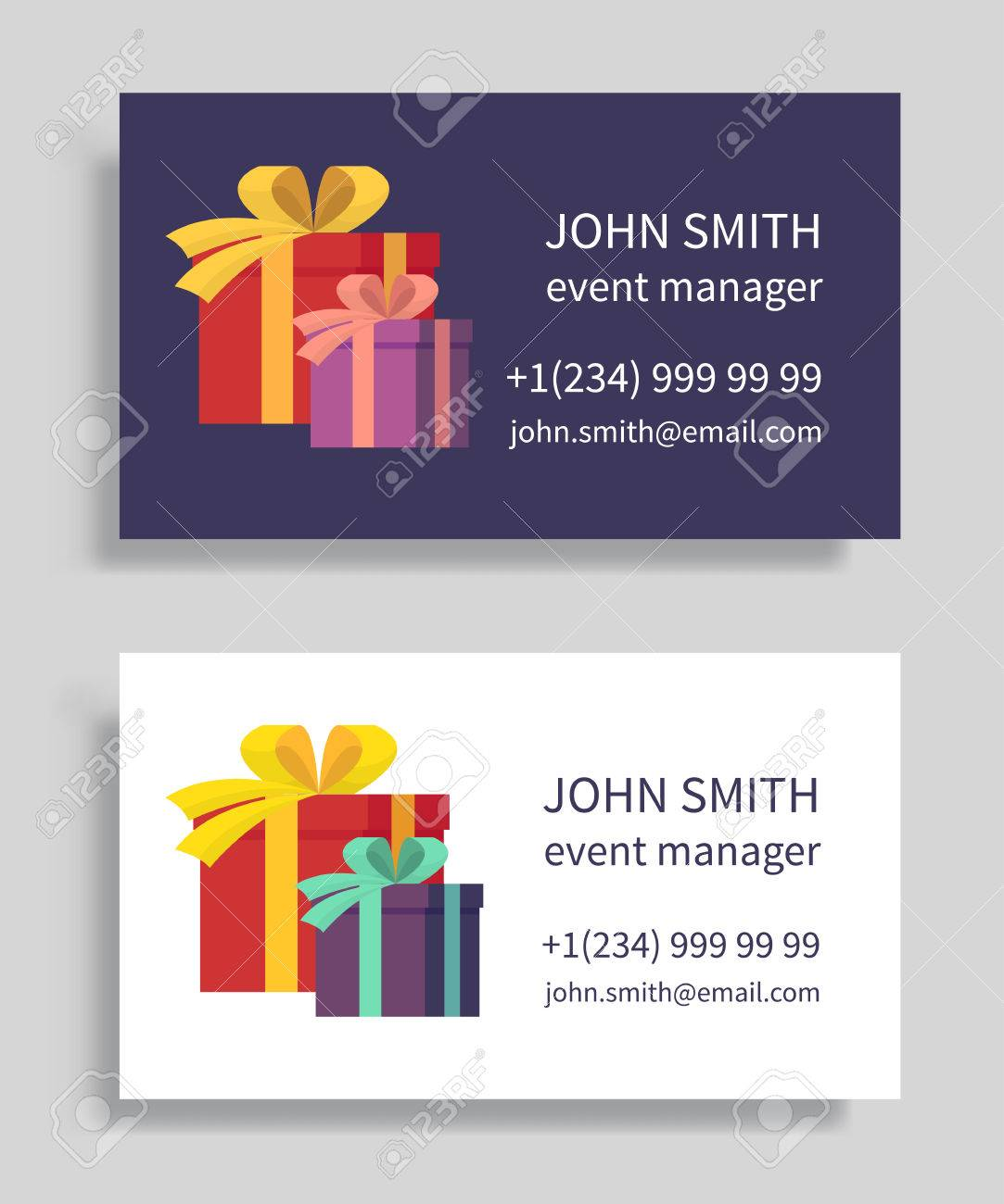 Event manager business card with gift boxes holidays organization event manager business card with gift boxes holidays organization party management vector illustration colourmoves