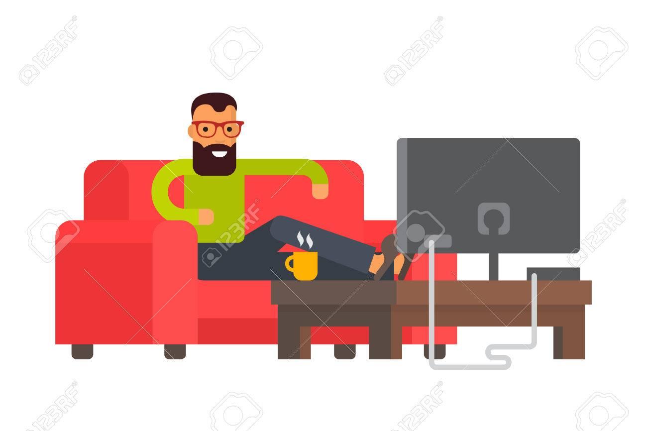 Man Sitting On Sofa Watching Tv At Home. Flat Design Vector Character  Illustration Stock Vector