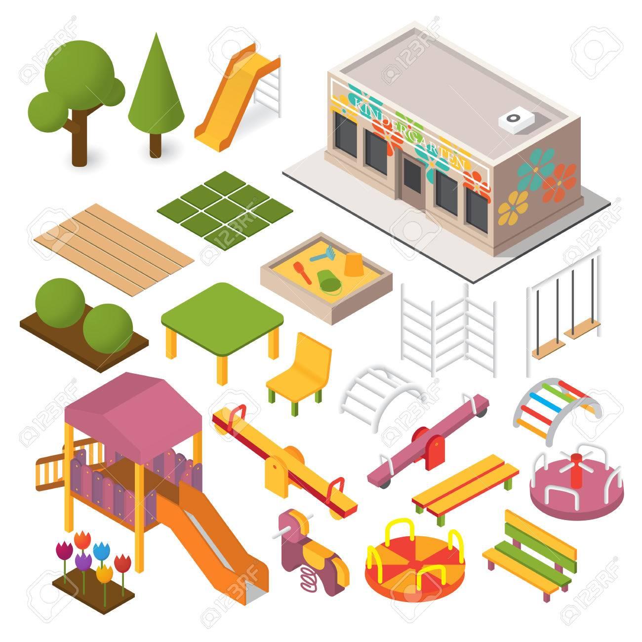 Vector Isometrico Jardin De Infantes Preescolar Juegos Infantiles