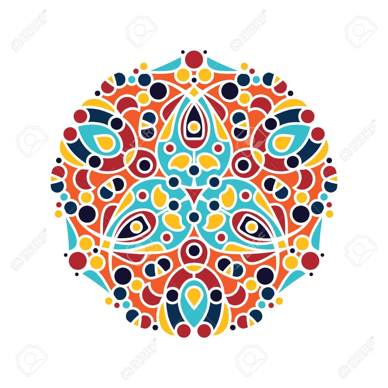 アラビア語の花飾りマンダラ ロ...