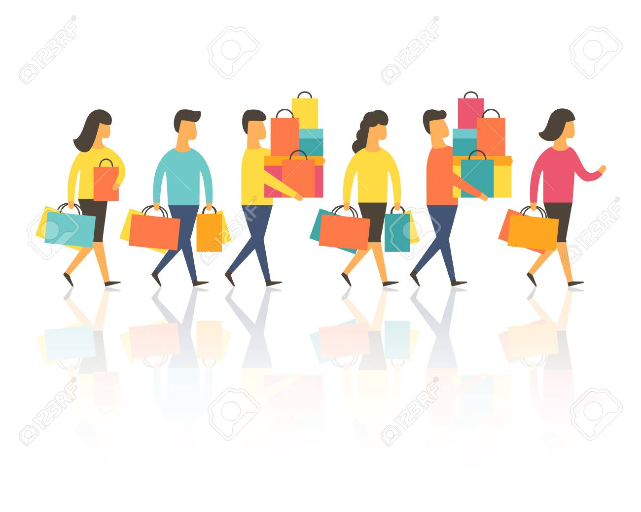 Shopping people with bags. Vector illustration - 92113960