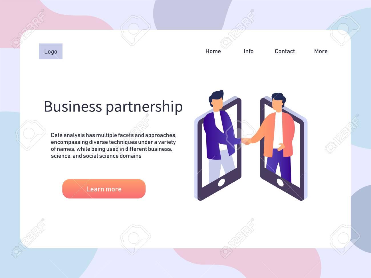 Online meeting, business partnership. People partner handshake. Vector isometric illustration - 112229646