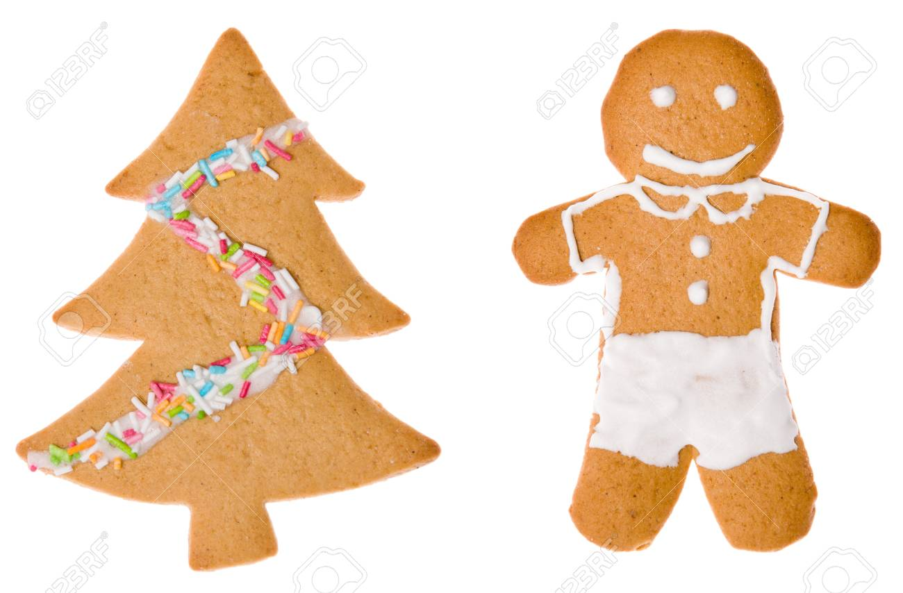 Two christmas cookies isolated Stock Photo - 14953708