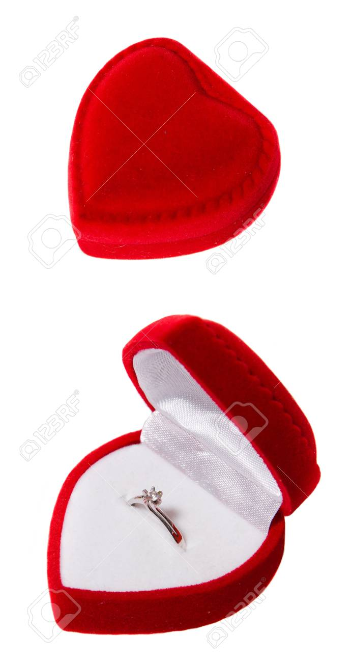 Engadement ring in red box isolated Stock Photo - 14953626