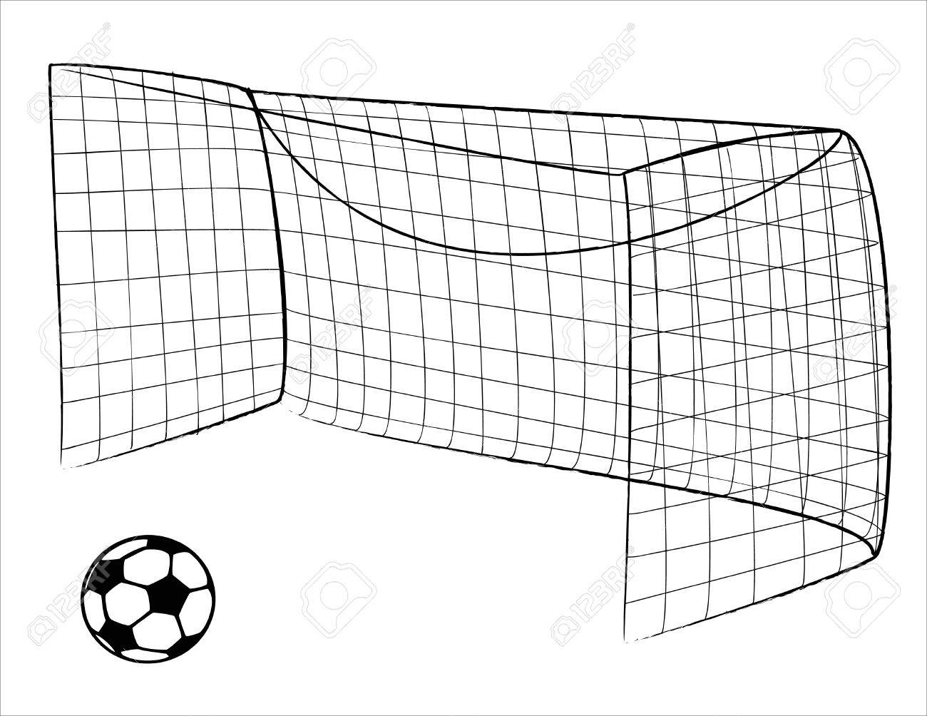 Illustration of a Soccer gate and ball - vector Stock Vector - 4380417