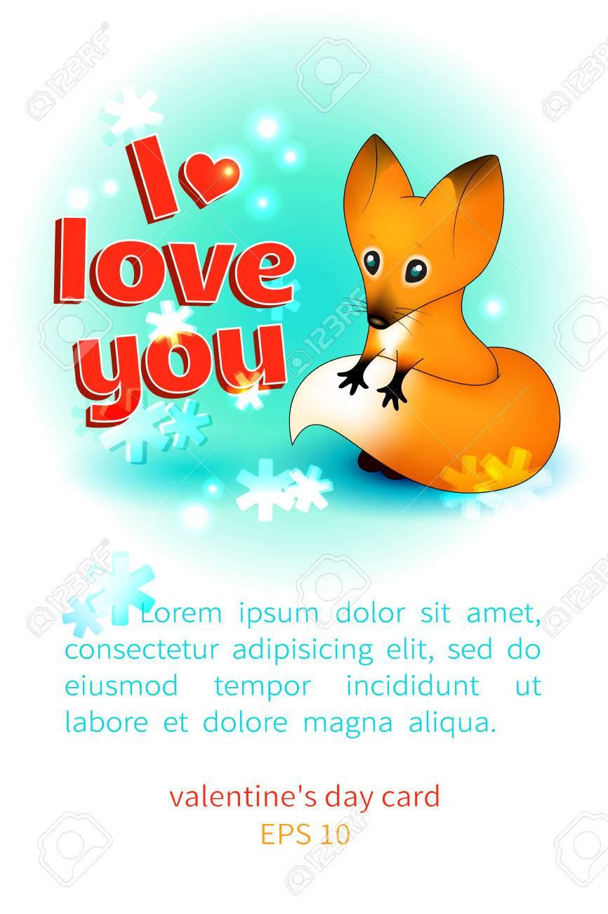 Vertikale Valentinstag Karte Mit Platz Für Text Mit Einem Netten Schüchtern  Welpen Fuchs Und Einem