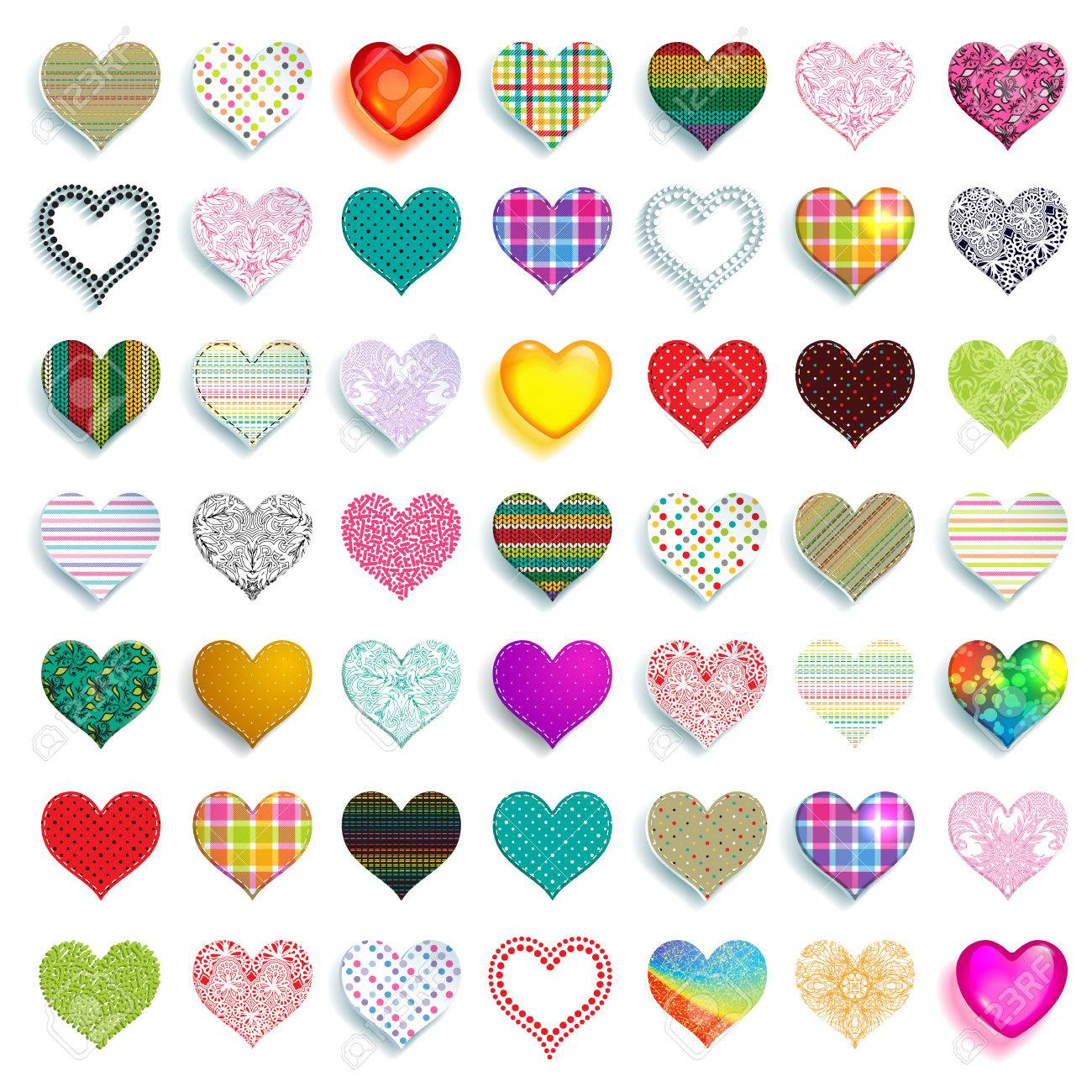 How to scrapbook materials - Mega Set Of 49 Colorful Scrapbook Hearts Of Different Colors Graphics And Materials Such