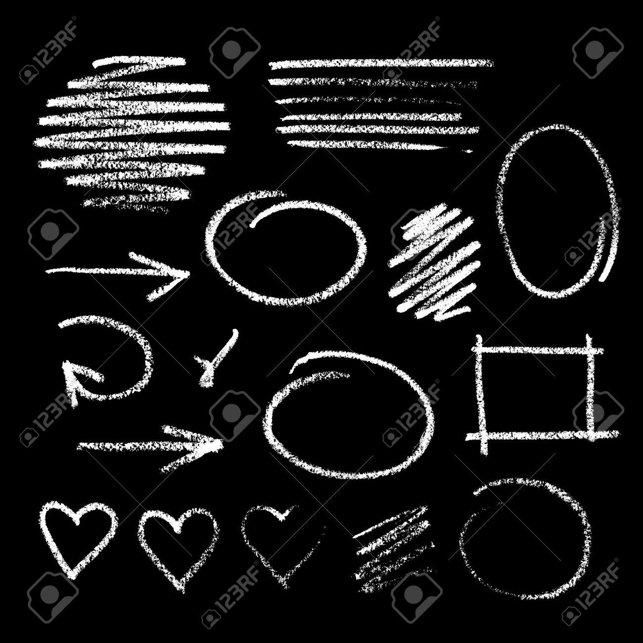 Collection of graphic elements. Handdrawn chalk sketch on a blackboard. Arrows, frames, strokes and hearts - 43026055