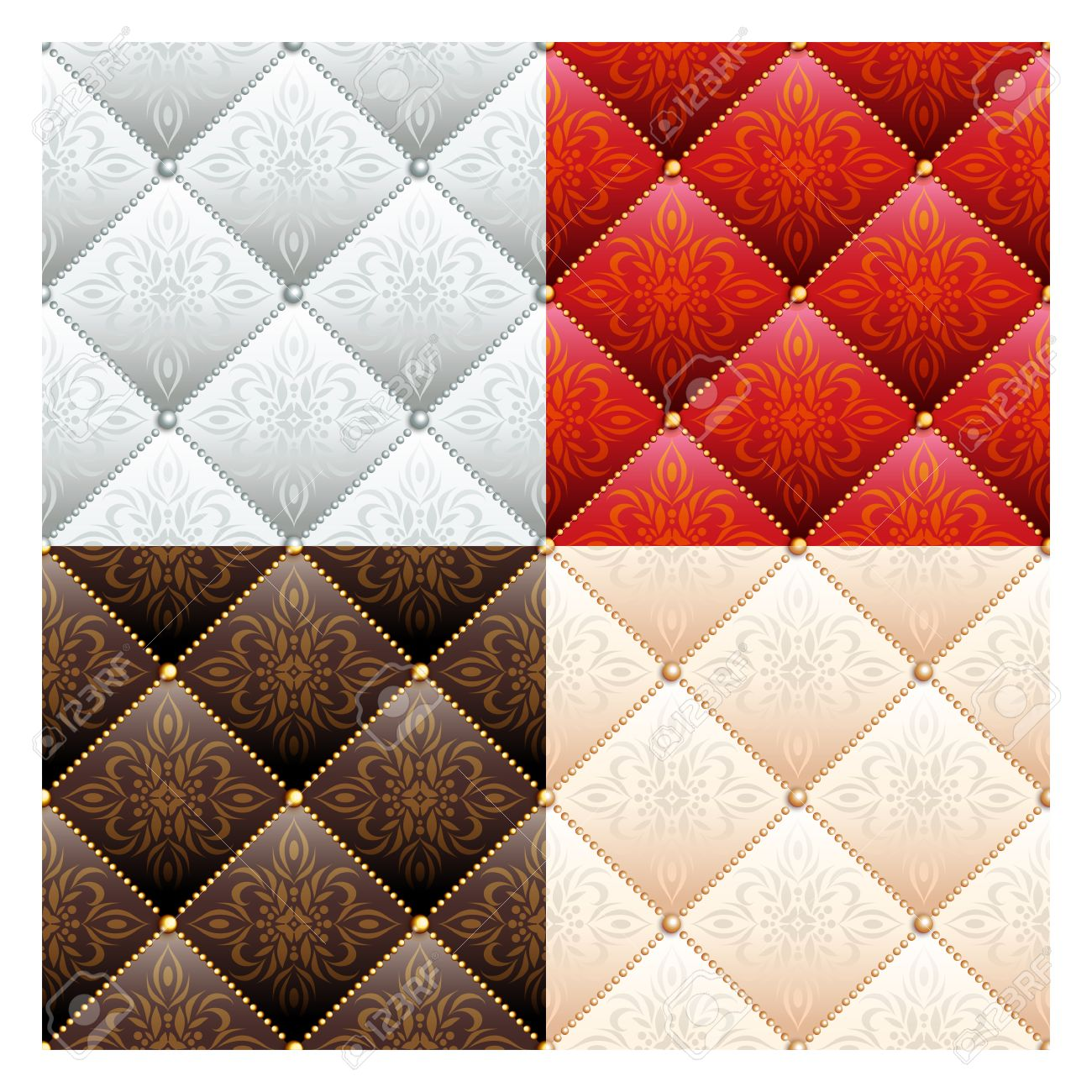 Set Of 4 Satin Quilted Seamless Texture Of Silver, Red, Brown ...