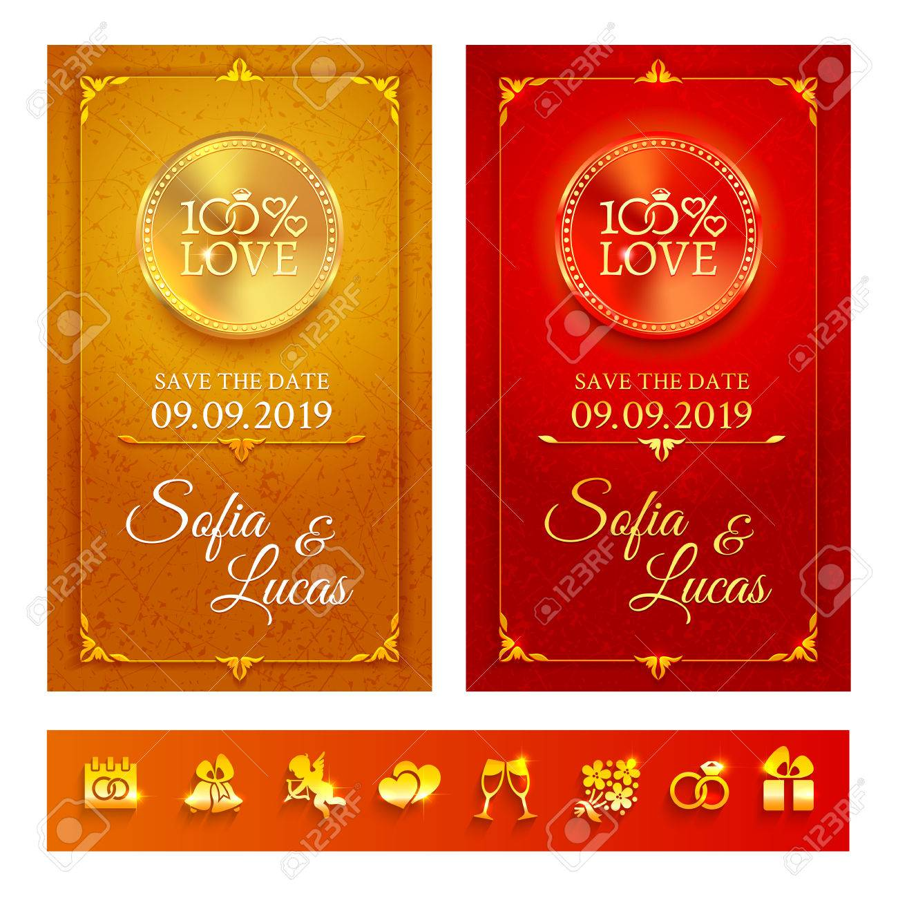 Collection Of Two Bright Gold And Red Wedding Invitation In The ...