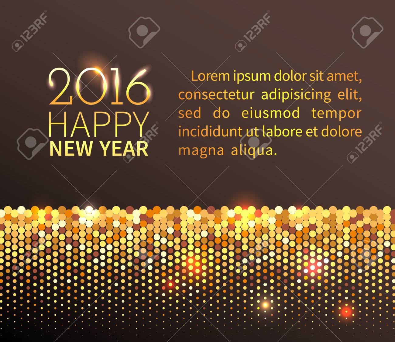 new year 2016 background gold shining horizontal border with sparkling sequins in the disco style