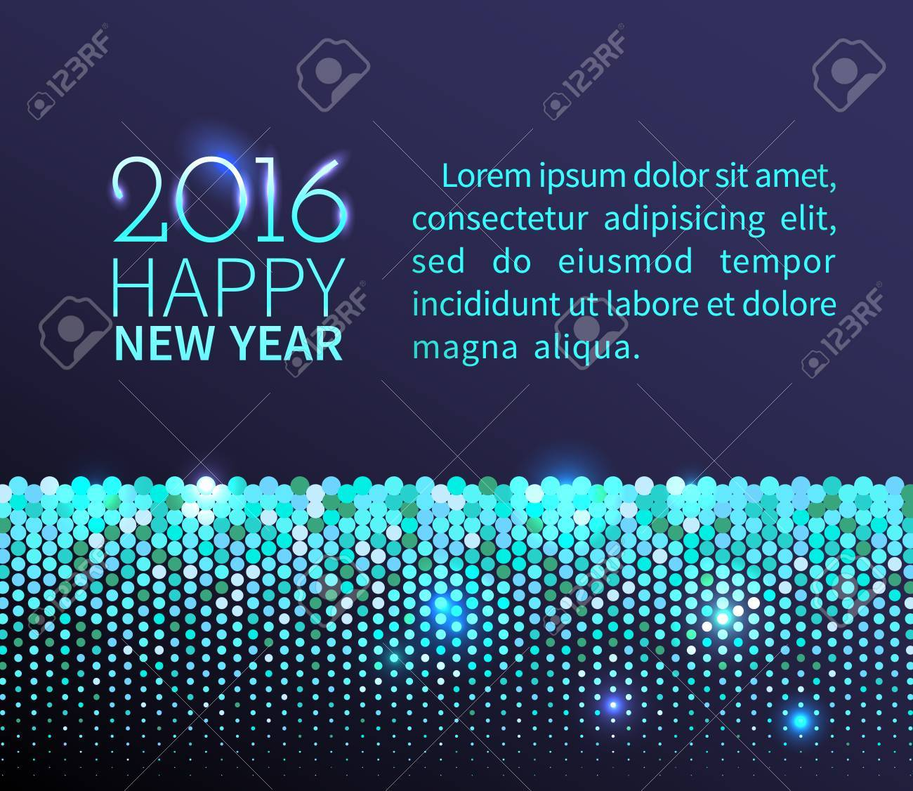 new year 2016 background blue shining horizontal border with sparkling sequins in the disco style