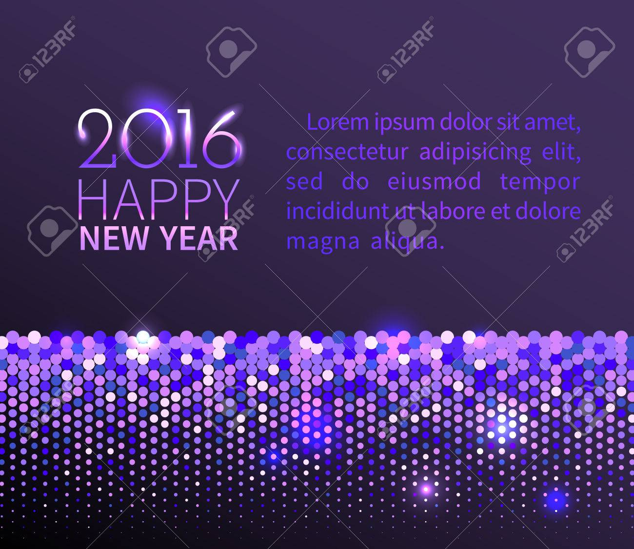 new year 2016 background purple shining horizontal border with sparkling sequins in the disco style