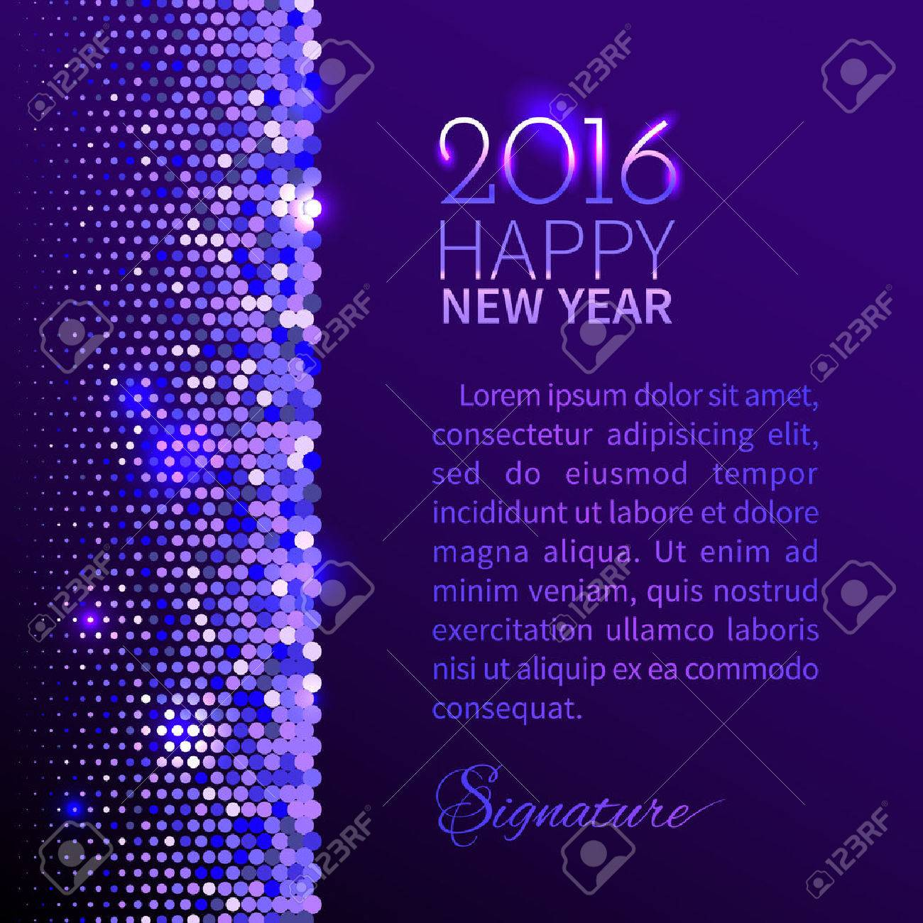 new year 2016 background purple shining vertical border with sparkling sequins in the disco style