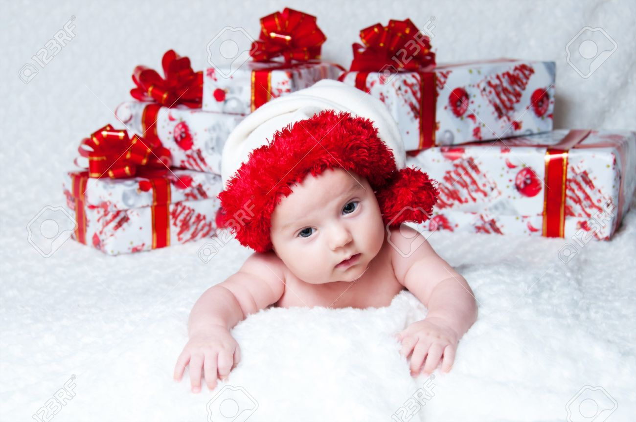 Newborn Baby Boy Santa Claus With Christmas Gifts Stock Photo ...