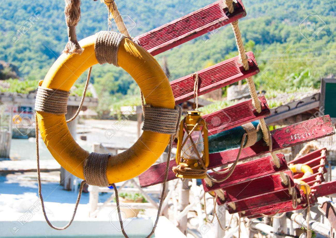 Lifebuoy And Rope Ladder Marine Decor Stock Photo Picture And Royalty Free Image Image 27403718